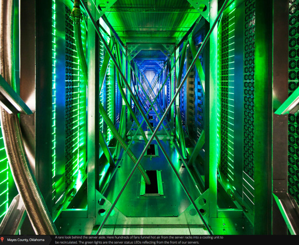 Google Data Center Hot Air Aisle Behind Servers
