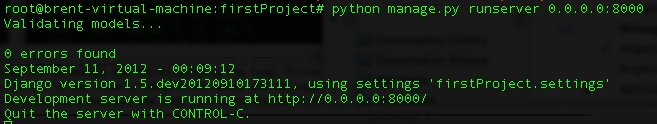 python manage.py runserver 0.0.0.0